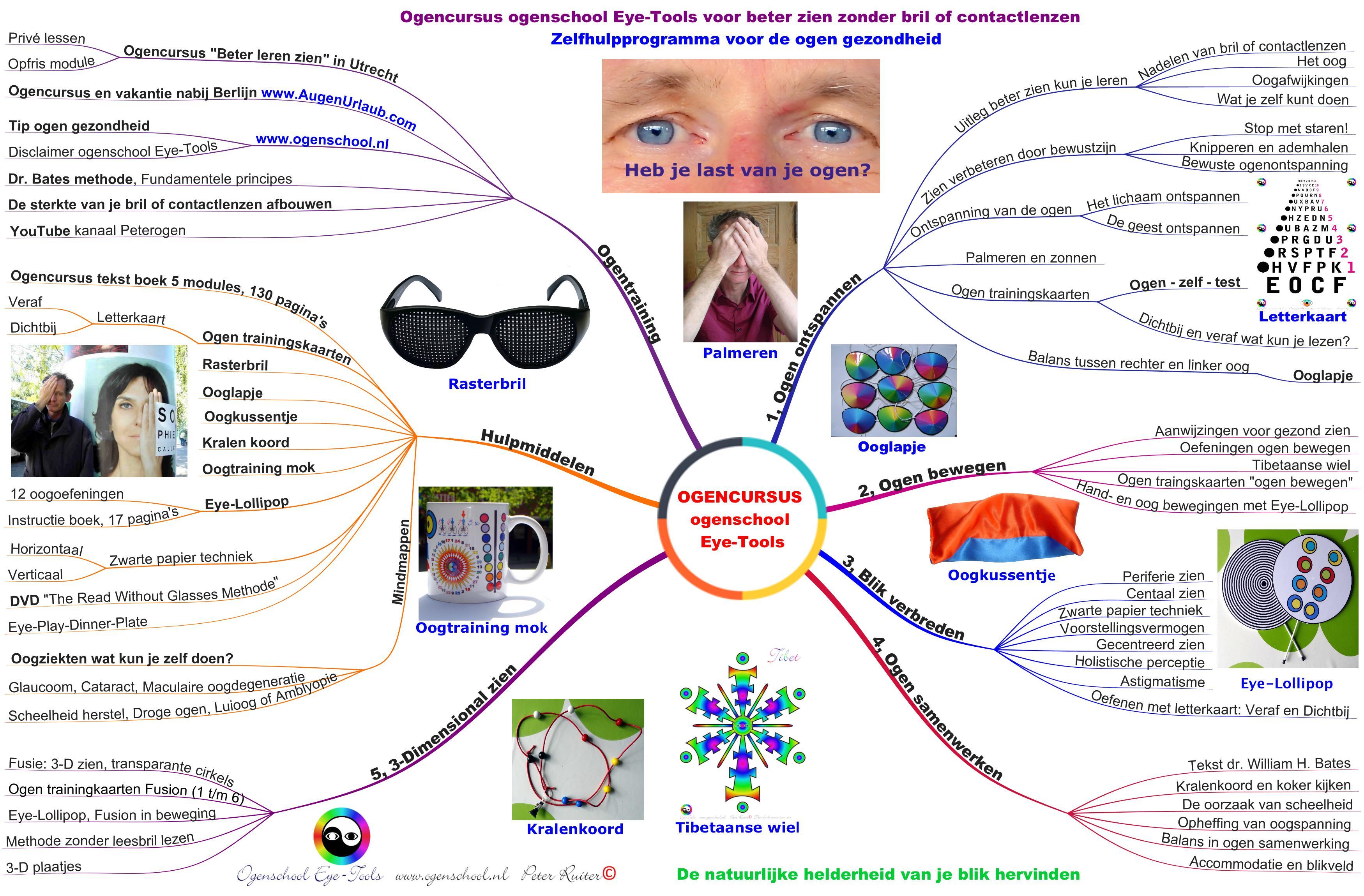 Mindmap van de ogencursus van ogenschool Eye-Tools. Beter leren zien zonder bril of contactlenzen.