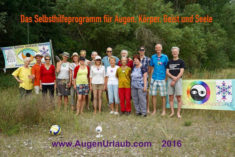 AugenUrlaub 2016 - in Berlinnähe Augenkurs Juli 2016. Gruppe Bild Sehtraining mit Almuth Klemm Augenschule Berlin und Peter Ruiter Ogenschool Eye-Tools.